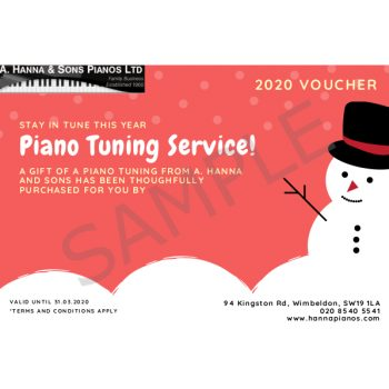 Christmas 2019 Gift Voucher - Single Piano Tuning SAMPLE